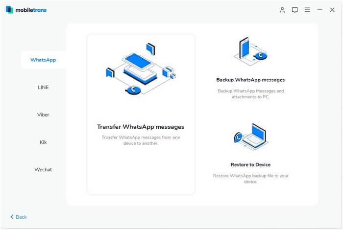 MobileTrans WhatsApp Data Transfer